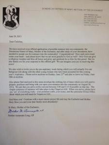 Acceptance letter from Mother Assumpta, OP